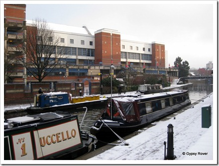 Our moorings in Birmingham opposite the NIA. Feb; 2010.