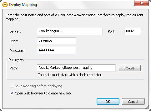 Deploying the data mapping to FlowForce Server