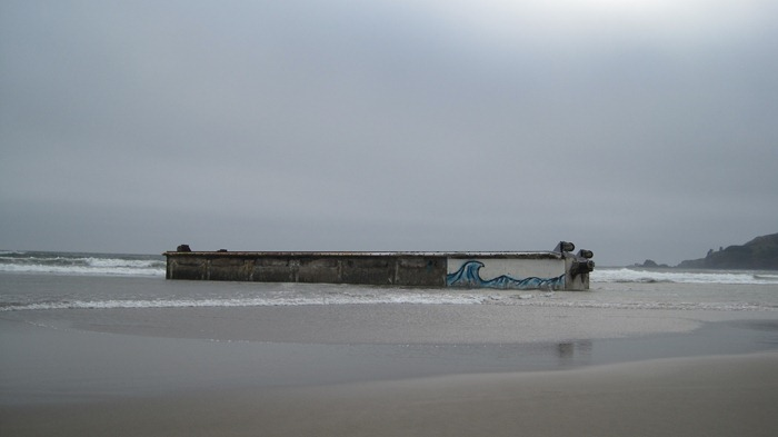 Japanese dock on Agate Beach in Newport