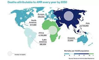 Bản đồ về tình trạng kháng kháng sinh trên toàn thế giới đến năm 2050, với khoảng 10 triệu người tử vong