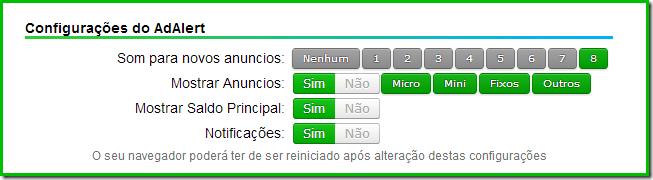 Configurações da AdAlert - Clique Para Ganhar