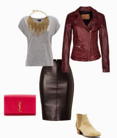 Saia pencil em pele, t-shirt cinza, colar statement dourado, botins beges, blusão biker bordeaux e clutch vermelha