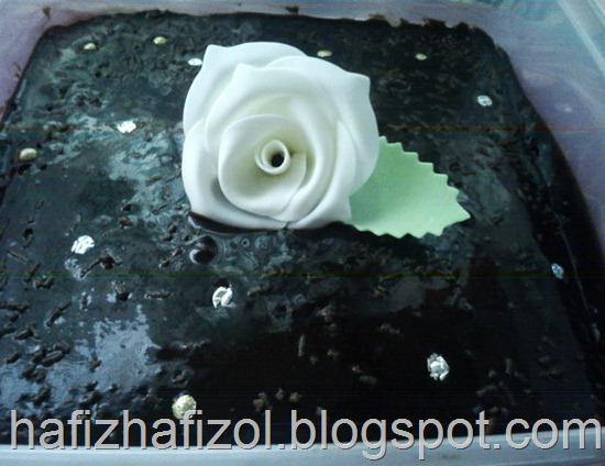 Indulgent Chocolate Moist Cake with White Rose