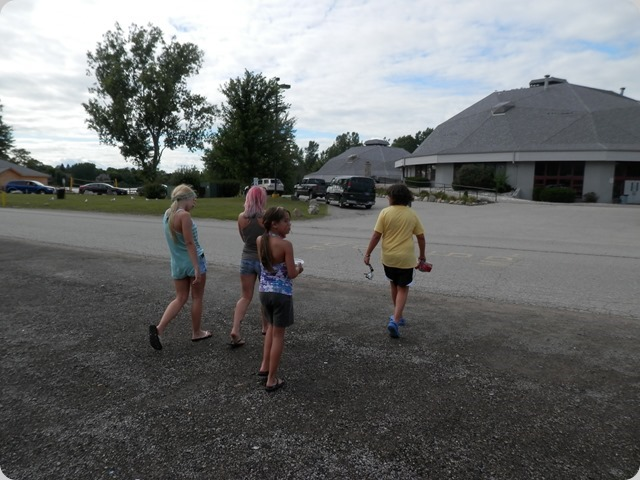 Grand Daughters heading to the lake just past the dome buildings.