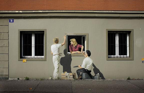Trompe l'œil en un carrer de Berna Berna, Suïssa