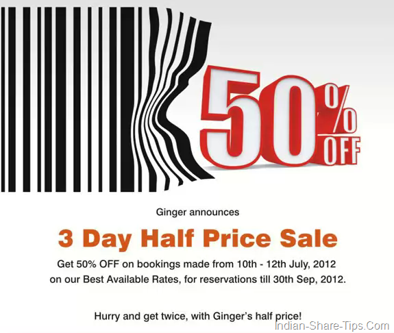 GINGER HOTELS 50% OFF