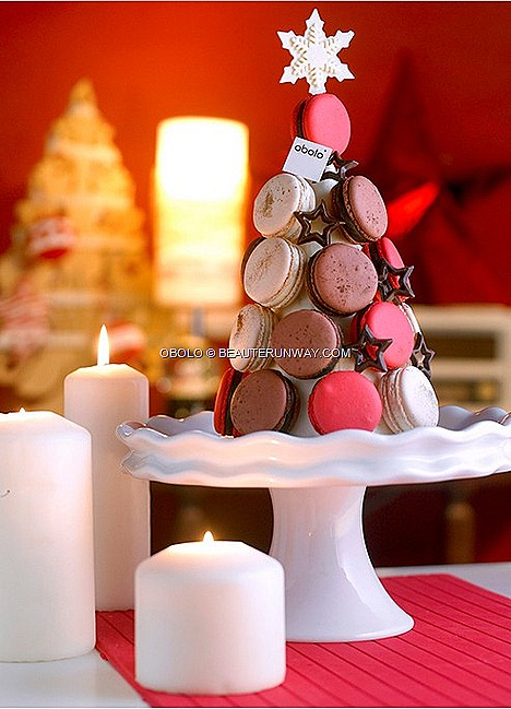 Obolo Mini Macaron Centre-piece Tower Christmas Collection Ruby Champagne Bittersweet Chocolate signature macarons  Grand Marnier Vin Rouge Salted Caramel Chocolate Bittersweet Chocolate