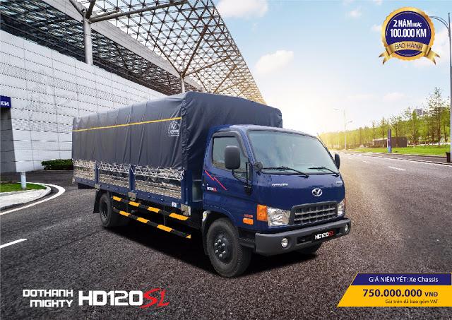 Hyundai HD120sl 8 tấn gắn bửng nâng chở phuy dầu