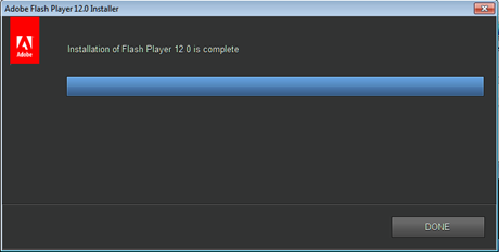 install update Adobe Flash Player terbaru selesai