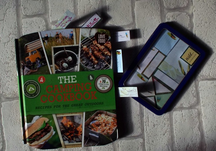 the camping cook book and sticky tabs