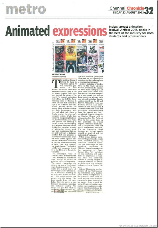 Deccan Chronicle Chennai Chronicle Dated 23rd Aug 2013 Pg No 32  Animated Expressions