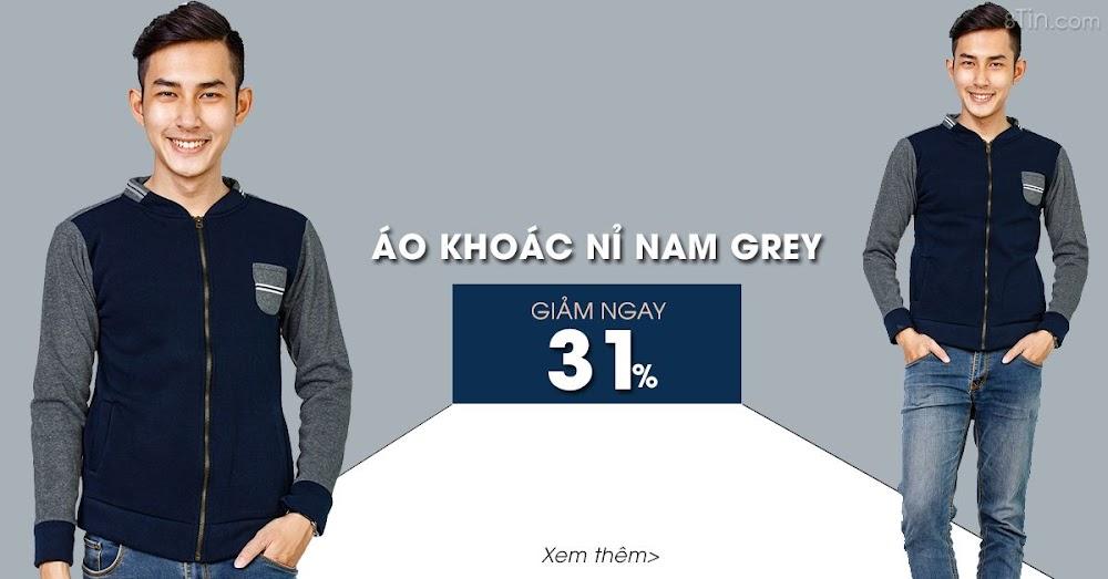 Áo khoác nỉ nam Grey  Thời trang  Trẻ trung