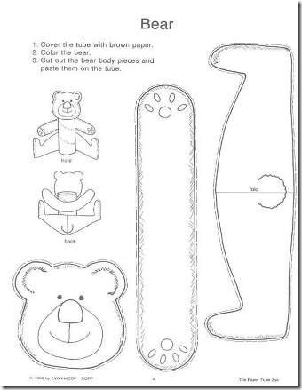 Moldes para crea un OSO con un tubo de higiénico