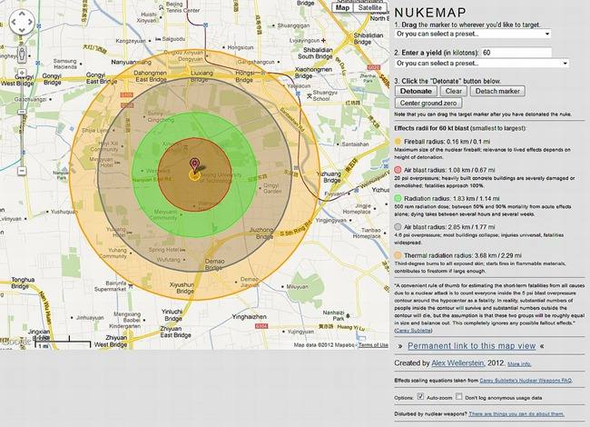 Hypothetical situation where Beijing, the capital of China is struck by a 60 kiloton Nuclear device