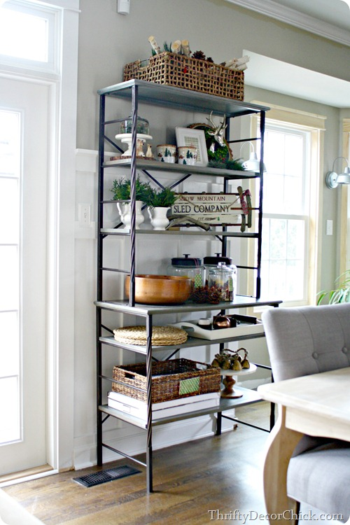 metal shelves in kitchen