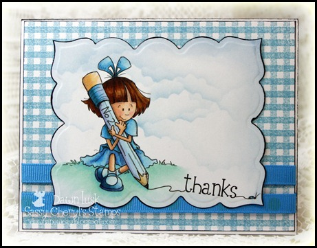 A No.2 Pencil and a Dream, Sassy Cheryl's Stamps, Gingham Background-ODBD