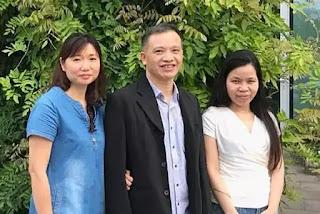 Lê Thu Hà (bên phải) sau hơn 2 năm rưỡi bị hành hạ dã man, tra tấn tinh thần trong nhà tù. Ảnh chụp sáng 8.6.2018 khi mới vừa sang Đức cùng với vợ chồng Ls. Nguyễn Văn Đài.