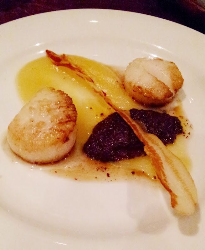 Scallops, black pudding, Alsace bacon and apple