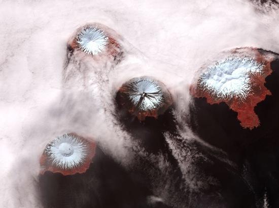 vulcões vistos de cima