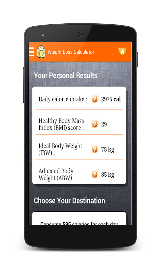 Weight Loss Calculator - screenshot