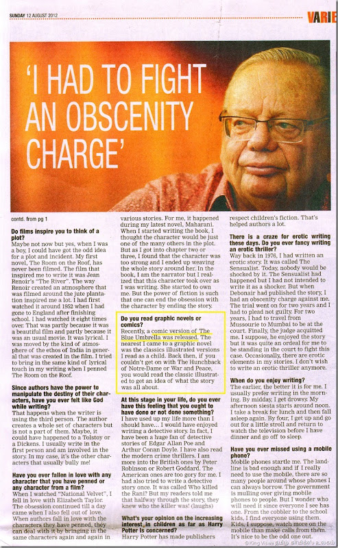 Times Of India English Daily Chennai Edition Supplement Chennai Times Page No 07 Ruskin Bond Interview Part 02