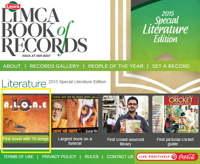 10Alone-in-Limca-book-of-records-2015-in-Literature-First-Novel-LBR-by-Vikrmn-CA-Vikram-Verma-Author