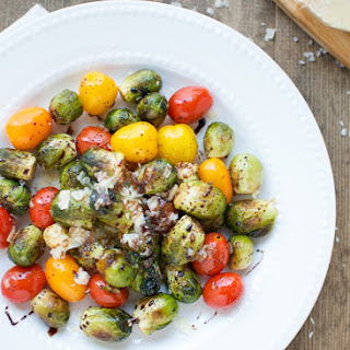 Balsamic Brussels Sprouts And Tomatoes.