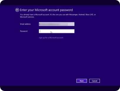 Enter your Microsoft account details