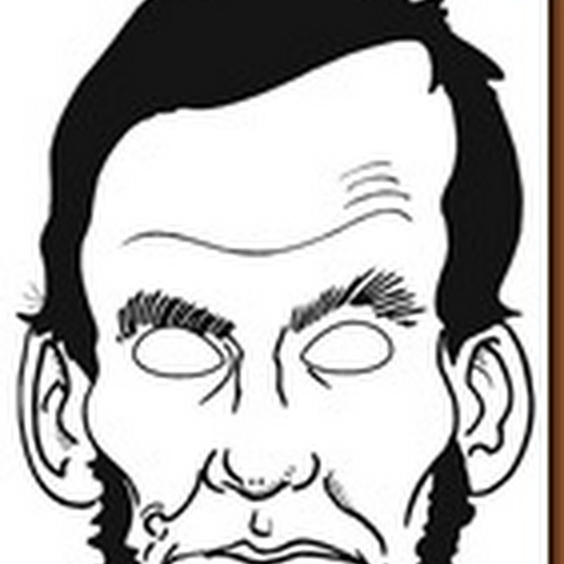 Máscara Abraham Lincoln color y colorear para imprimir