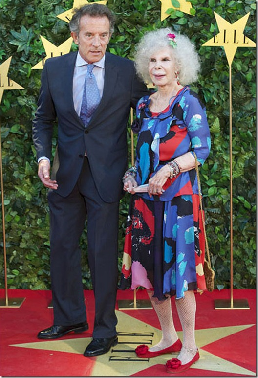ELLE Awards 25th Anniversary In Madrid...MADRID, SPAIN - JUNE 30:  Duchess of Alba, Cayetana Fitz-James Stuart and  Alfonso Diez  attend ELLE Awards 25th Anniversary at the Matadero cultural center on June 30, 2011 in Madrid, Spain.  (Photo by Carlos Alvarez/Getty Images)