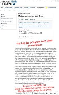 Motion 2014 15 2911 David Lång Mikael Jansson riksdagen Sd. Med amorism