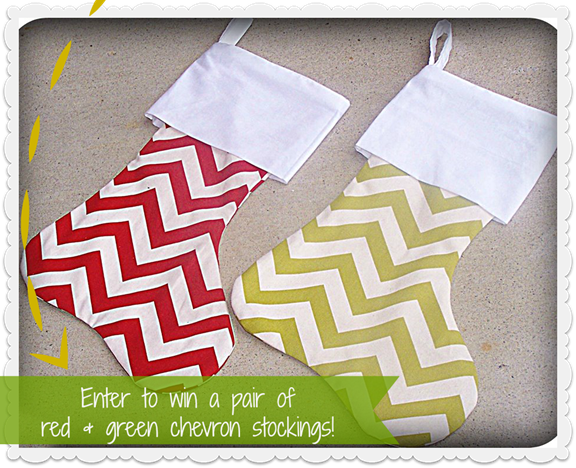 Enter to win a pair of red & green chevron stockings from No Whining Pleez on etsy #giveaway
