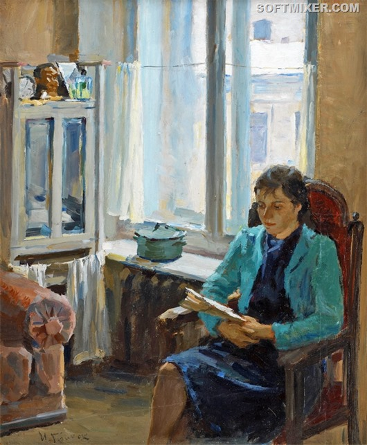 Ivan Aleksandrovich Grinyuk - A Woman Reading 1945