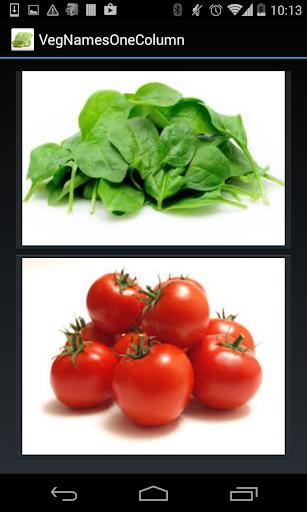 Vegetable Names 1 Line