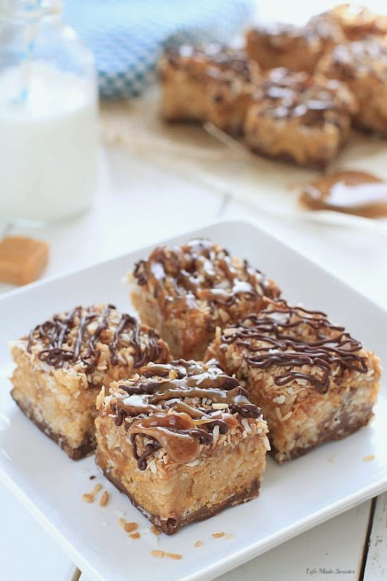 {No-Bake} Samoa Peanut Butter Cereal Bars @LifeMadeSweeter.jpg