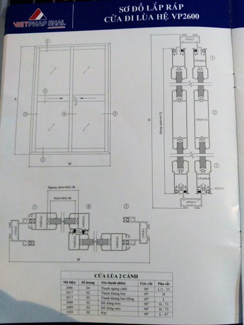 Kết cấu cửa lùa 2600