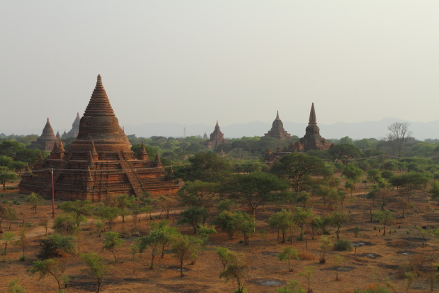 Pagodas and temples seen from the sunset temple of Bagan, Burma