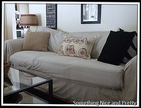 Sofa Covered With No Sew Dropcloths
