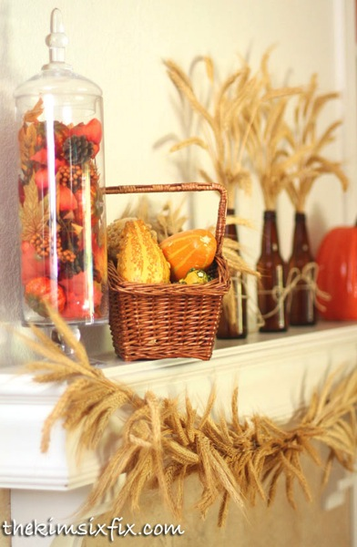 Fall harvest mantel thanksgiving