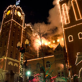 ab light display by Jody Jedlicka - Public Holidays Christmas ( holiday, st louis, anheuser busch, inbev, christmas, mood, mood factory, hanukkah, red, green, lights, artifical, lighting, colors, Kwanzaa, blue, black, celebrate, tis the season, festive )