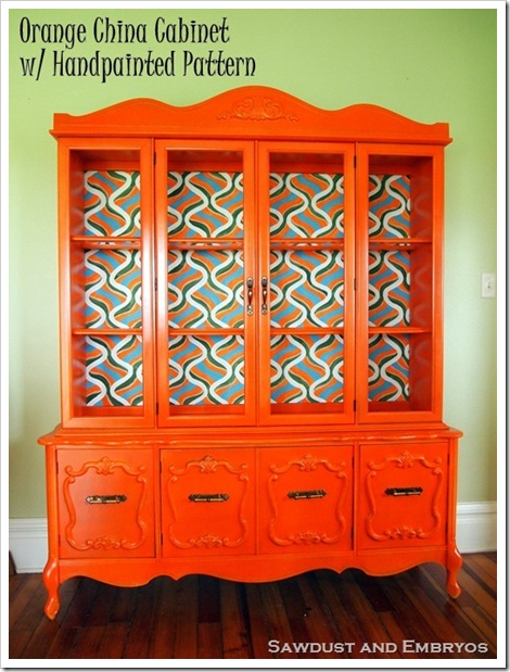 Retro Orange China Cabinet