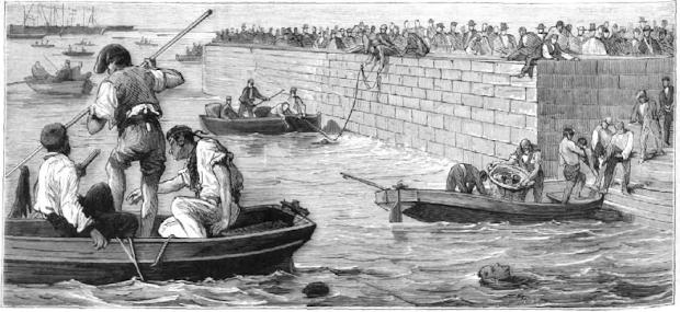 Despues de la tragedia. Remoción de cadaveres en el puerto. Grabado de Monleon aparecido en LA ILUSTRACION ESPAÑOLA Y AMERICANA. Año XIX, edición de 30 de agosto de 1875. Numero XXXII (1).png