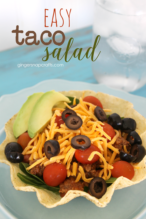 Easy Taco Salad at GingerSnapCrafts.com #recipe #ad