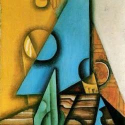 Juan Gris (1913-1914): Botella y vaso sobre una mesa. Galería Jan Krugier. Geneva.