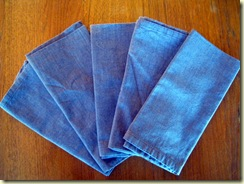 Blue cloth napkins