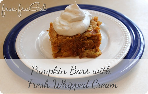 frou fruGAL Pumpkin Bars with Fresh Whipped Cream
