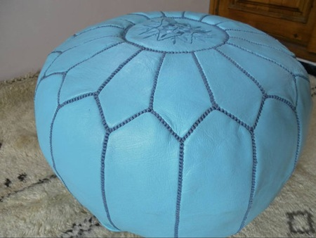 leather etsy pouf