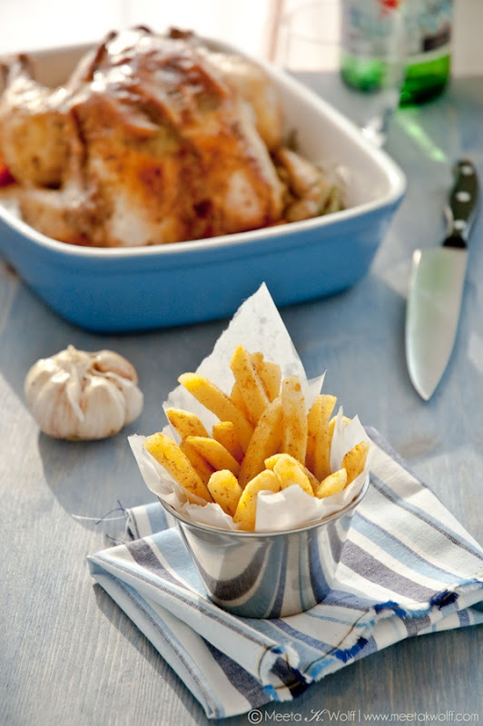 Slow Roasted Grappa Garlic and Lemon Pepper Chicken with Parsnip Fries (0010)by Meeta K. Wolff