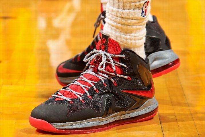 35b1deab0da ... Closer Look at Nike LeBron X PS Elite BlackGreyRed PE ...