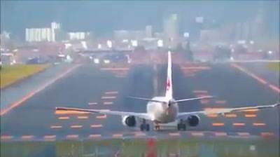 Strong wind takeoff